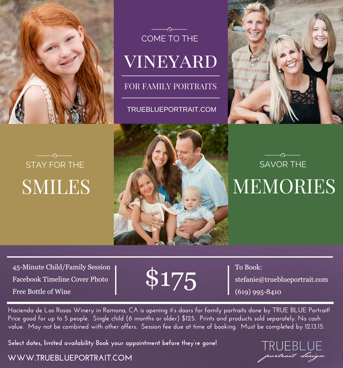 family portraits in san diego at a winery by TRUE BLUE Portrait
